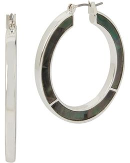 Shell Inlay Silvertone Mother Of Pearl Hoop Earrings
