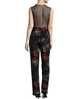 Sleeveless Silk Floral Jumpsuit
