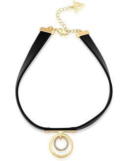 Goldtone Ring Pendant Choker Necklace