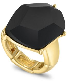 Lets Flirt Goldtone Faceted Stone Stretch Ring