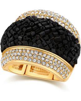Lets Flirt Goldtone Studded Stretch Ring