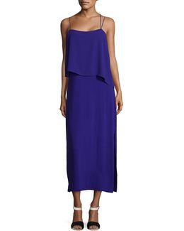 Asymmetric Woven Overlay Maxi Tank Dress