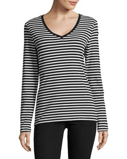 Plus Long Sleeve Stripe V-neck Tee