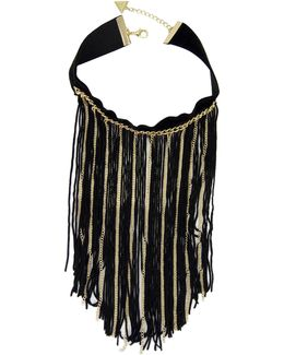 Goldtone Fringed Velvet Choker Necklace