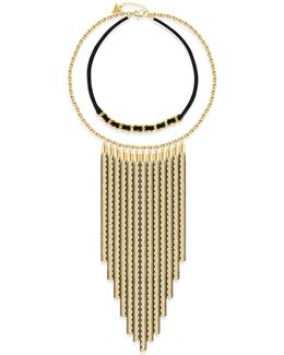 Goldtone Lets Flirt Two-row Tassel Necklace