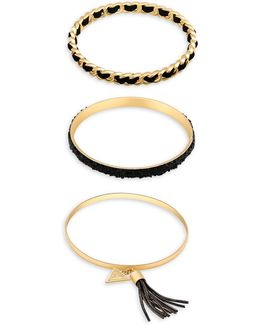 Three-piece Lets Flirt Goldtone Bangles Set