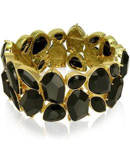 Lets Flirt Goldtone Faceted Stone Stretch Bracelet