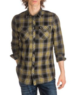 Rough Macro Check Cotton Casual Button-down Shirt