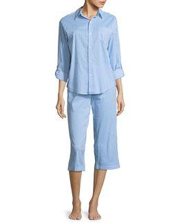 Two-piece Striped Capri Pyjama Set