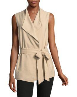 Sleeveless Belted Vest