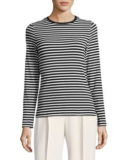 Petite Essential Striped Stretch Crew Neck Top
