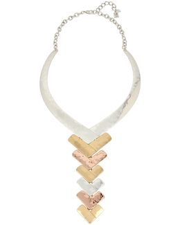 Tri-tone Chevron Necklace