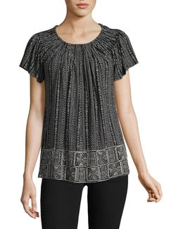 Printed Pleat Neck Blouse