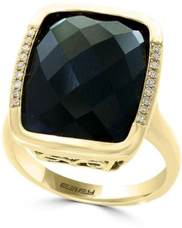 14k Yellow Gold Onyx And 0.06tcw Diamond Rectangle Ring