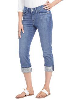 Alina Wide-leg Opening Capri Denim Jeans