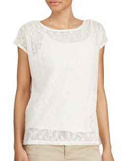Petite Embroidered Sheer Top