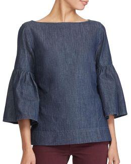 Petite Denim Cotton Bell Sleeve Blouse