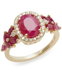 14k Yellow Gold Ruby And 0.21tcw Diamond Oval Ring
