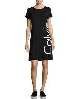 Short Sleeve Foil Logo Casual T-shirt Dress