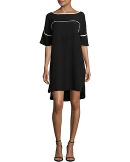 Piped Shift Dress