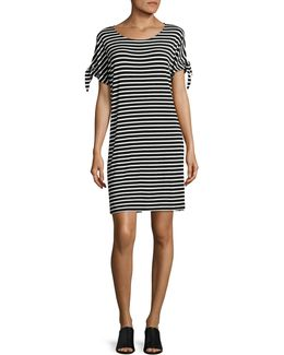 Short Sleeve Stripe Casual Dress With Ties