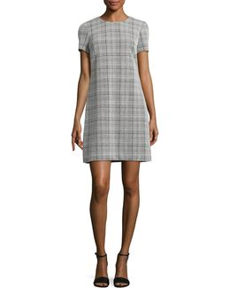 Checker Ponte Shirt Dress