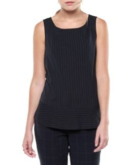 Sleeveless Pinstriped Woven Top