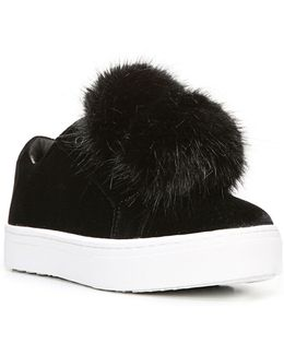 Leya Pom-pom Velvet Sneakers
