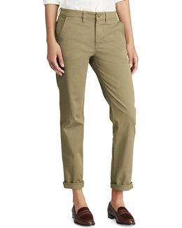 Mid-rise Stretch Cotton Straight Pants