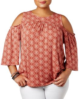 Plus Geometric Cold Shoulder Top