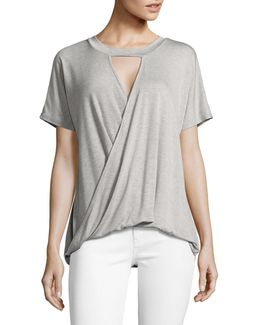 Choker Neck Short Sleeve Wrap Tee