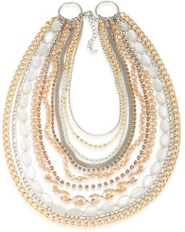 Crystal Two-tone Multistrand Necklace