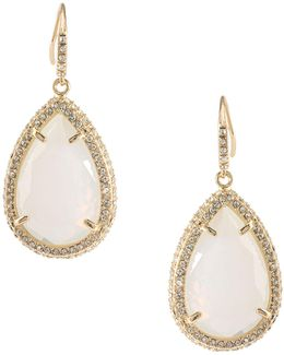 Crystal Teardrop Stone With Pave Pierced Earrings
