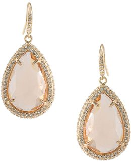 Crystal Light Teardrop Stone Pave Earrings