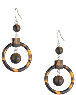 Tortoiseshell Beaded Chandelier Earrings