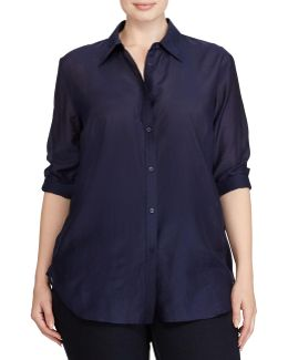 Plus Voile Button-down Shirt