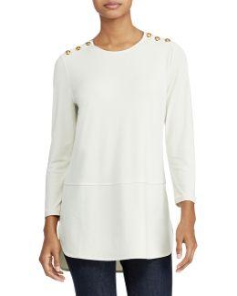 Button-shoulder Jersey Top