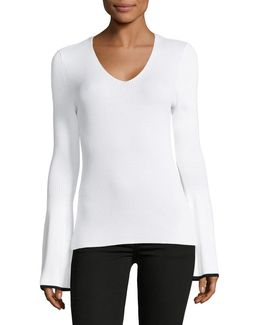 V-neck Ribbed Long-sleeve Top