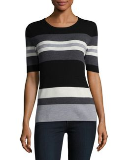 Striped Wool Rib-knit Sweater