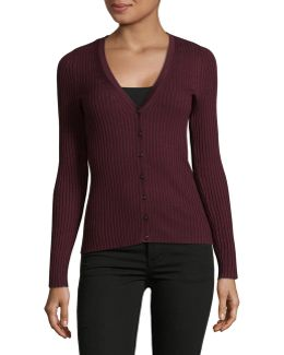 Petite Ribbed V-neck Cardigan