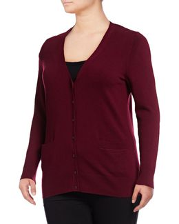 Plus Merino Wool V-neck Cardigan