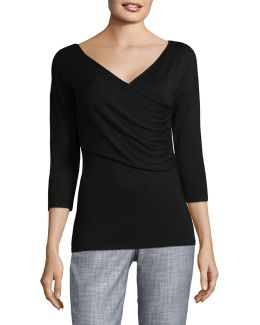 Plus Ruched Surplice Sweater