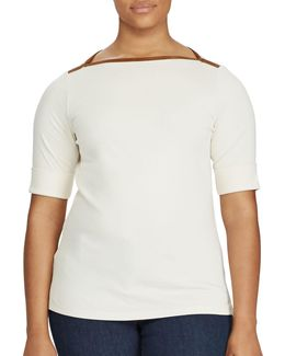 Plus Stretch Jersey Boatneck Top