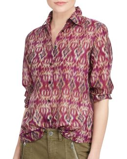 Plus Printed Voile Button-down Shirt