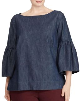 Plus Denim Cotton Bell Sleeve Shirt