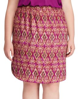 Plus Ikat-print Crepe Skirt