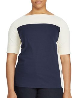 Plus Colourblock Cotton Top