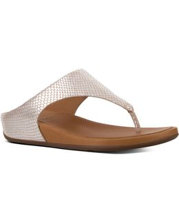 Banda Snake-embossed Leather Thong Sandals