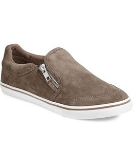 Womens Side Zip Slip-on Sneakers