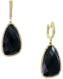 14k Yellow Gold Onyx And 0.56tcw Diamond Drop Earrings